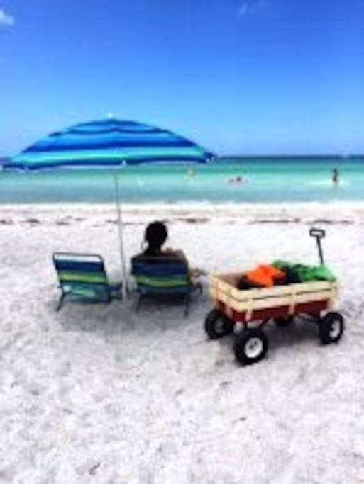 Relaxing on the Beach with our wagon, chairs, umbrella with ice chest!!!