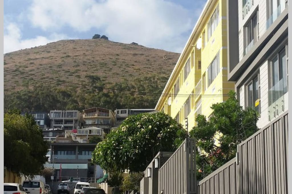 Yellow Building on right hand side, nestled below Signal Hill and just below High Level Road
