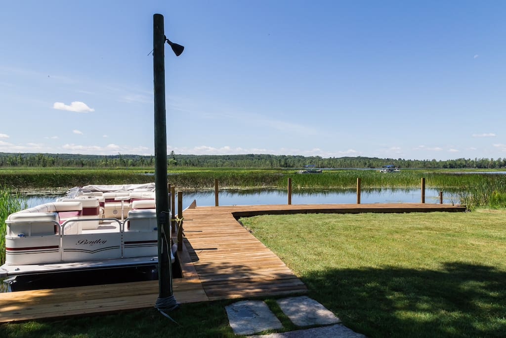 Room at the dock for 2 boats. Pontoon boat is available for rent.
