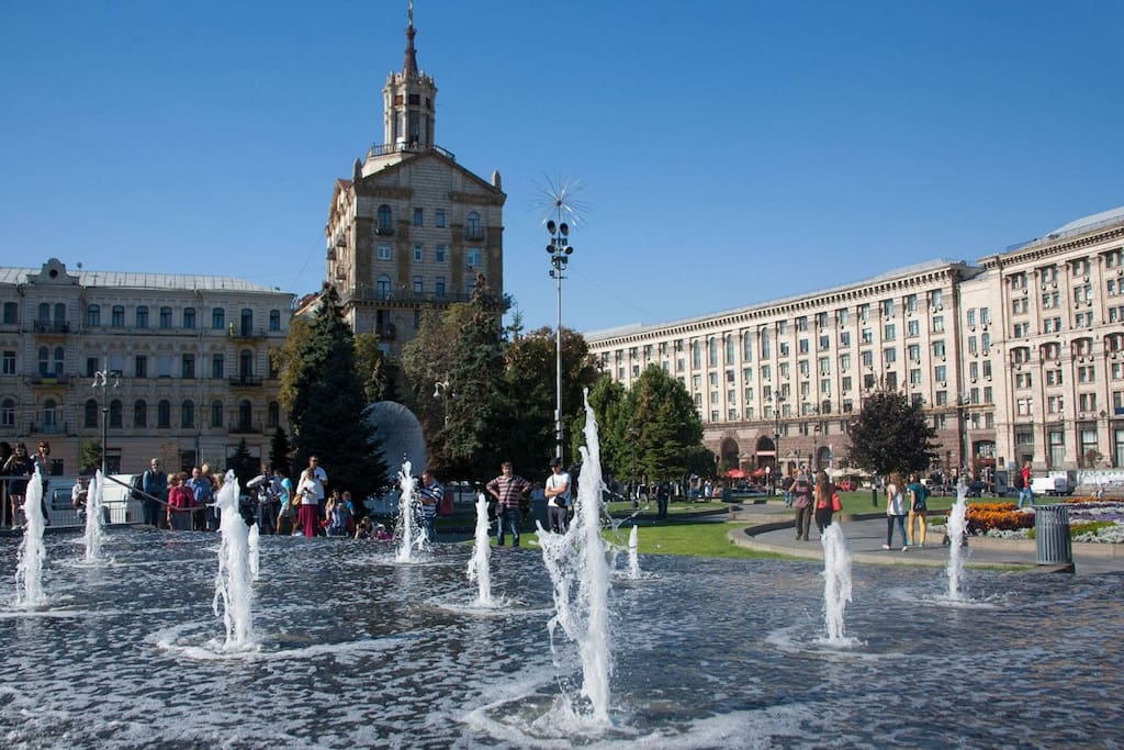 Fountains in front of the building. Independence Square
