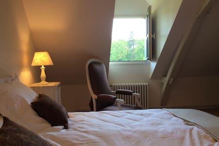 Chambre  avec salle de bain et wc - Écuillé - Bed & Breakfast