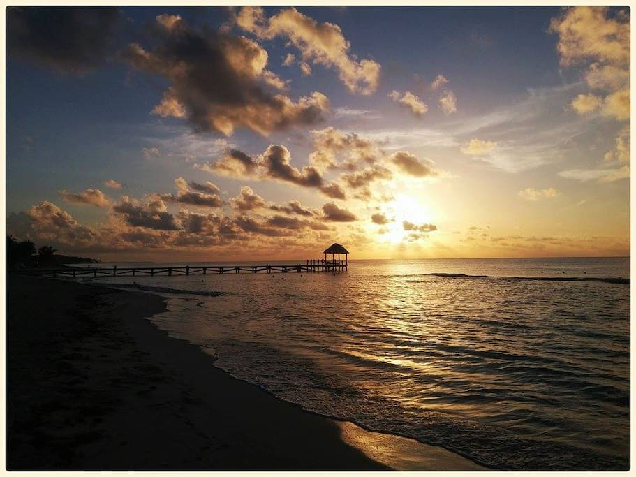Sunrise at Xcalacoco beach, located just a brief walk from our property...