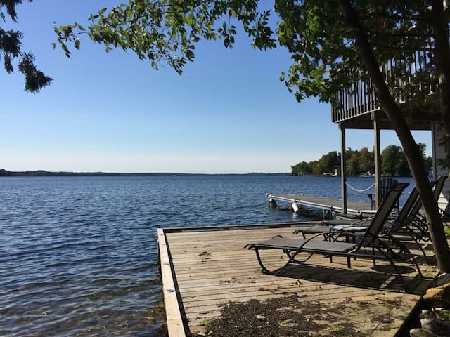 Waterfront deck, dock and bunkie/boat house