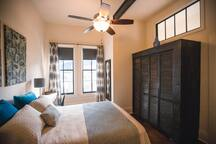 Large master suite with queen sized bed