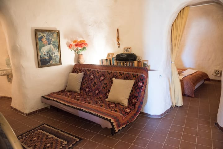 The Moroccan room, double sofa bed may be made up on request.