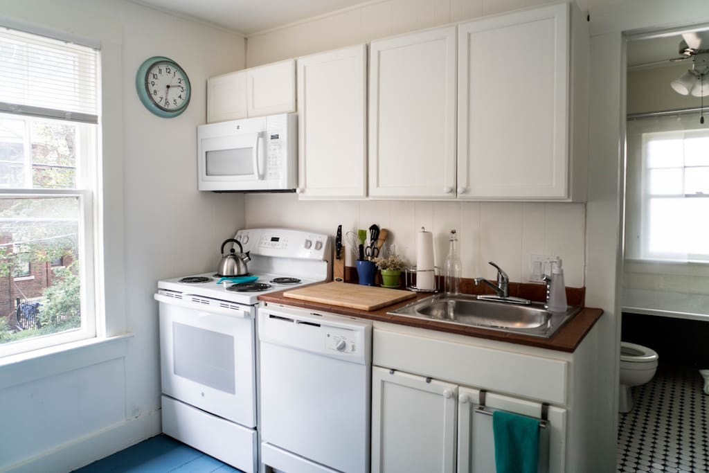 Full size stove, microwave and dishwasher.