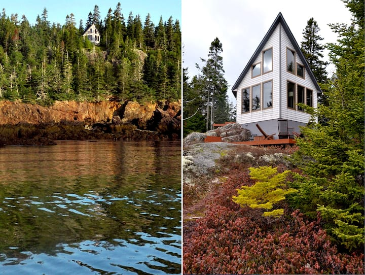 Cliff-perched cottage w private hiking trails