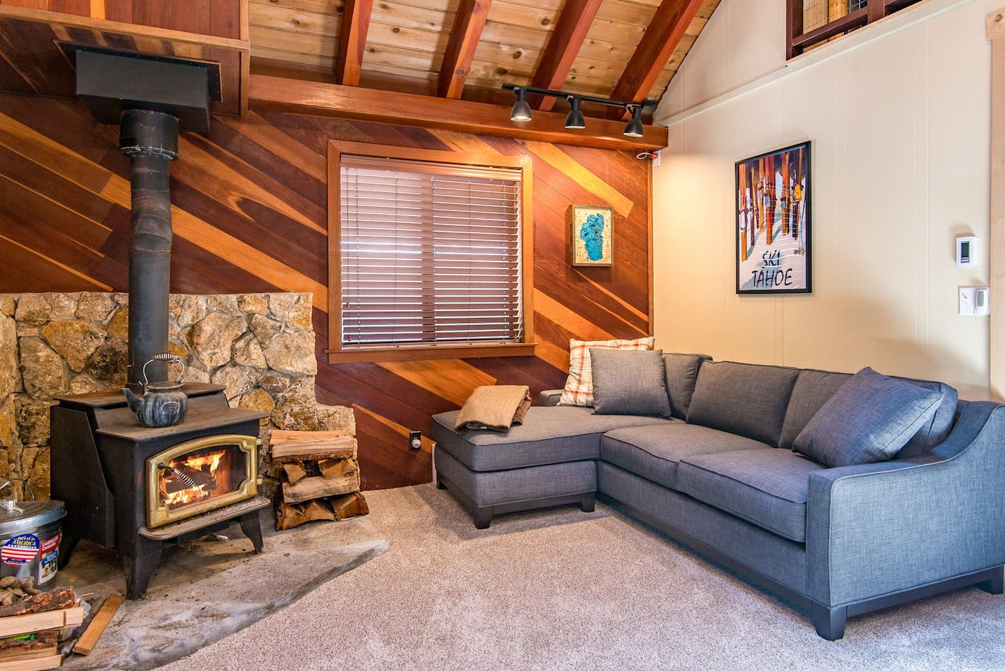 """Welcome to your  North Lake Tahoe Cabin! Enjoy the 32"""" flat screen TV with DVD player, Netflix, and Amazon in the living room"""