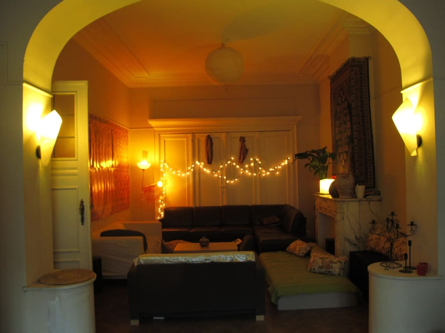 """Living room: This is the chill part. The flatmates may have friends visiting or organising an """"apero"""", so keep in mind that it's a shared flat and it can be very quiet  but also less quiet sometimes."""