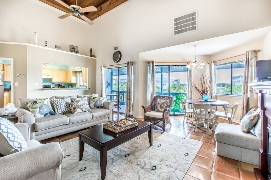 Vaulted ceilings and beautiful decor in this home