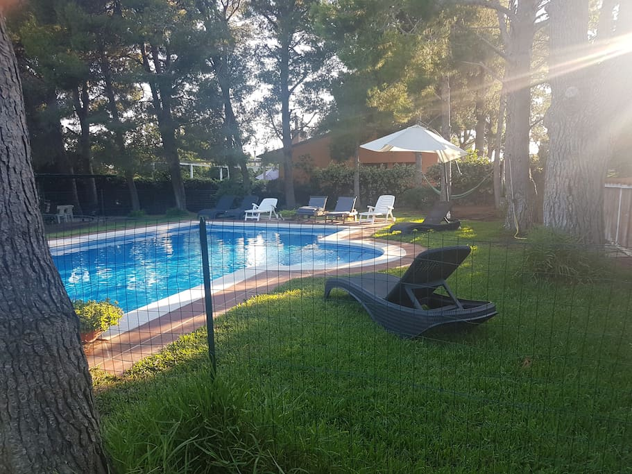 Valla de protección para niños en la piscina
