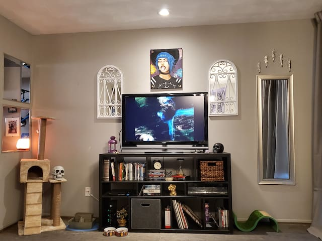 View of entertainment center from the couch.