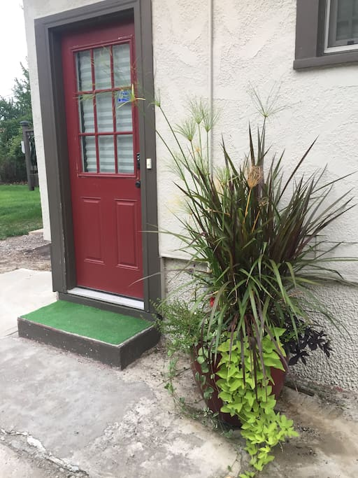 "This is your ""little red door"" entrance...... ! Welcome to your home away from home."