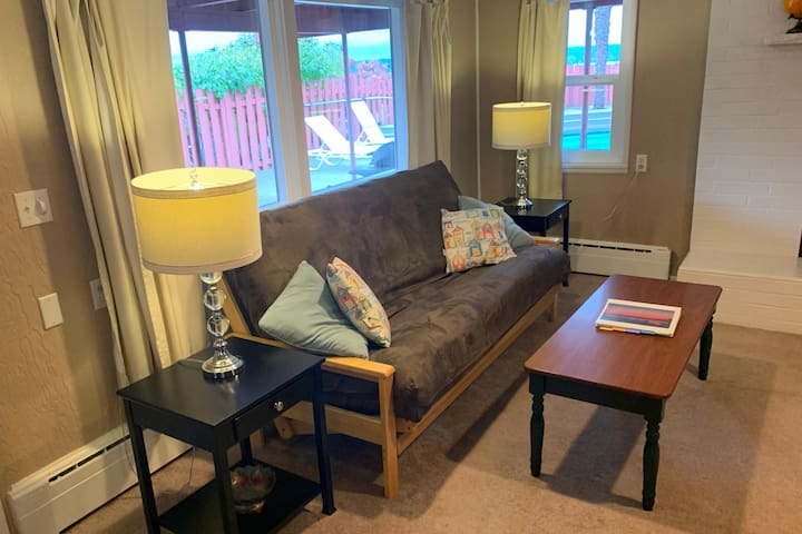 Enjoy the new futon as a couch or lay it down to be a double bed.
