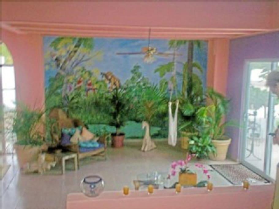 Jungle Mural in Livingroom
