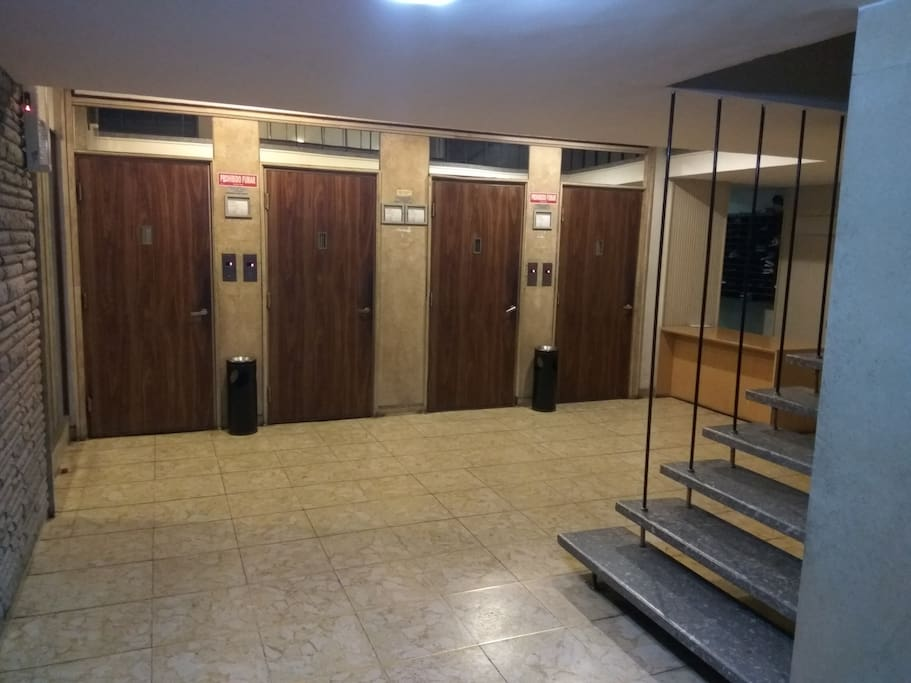 Entrad con 4 ascensores siempre en uso, vigilancia las 24 horas con portero