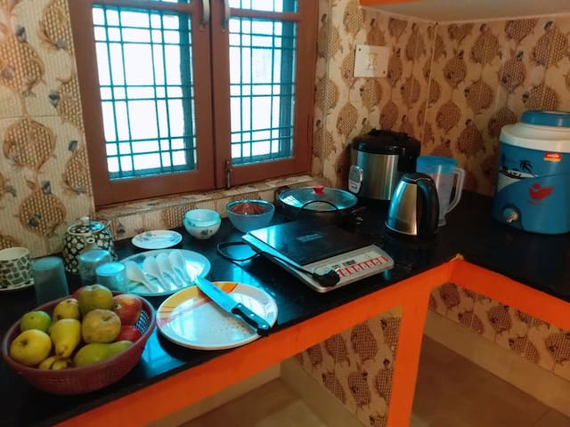 kitchen with induction cooker dishwasher plates cups silverware and coffemaker kettle.