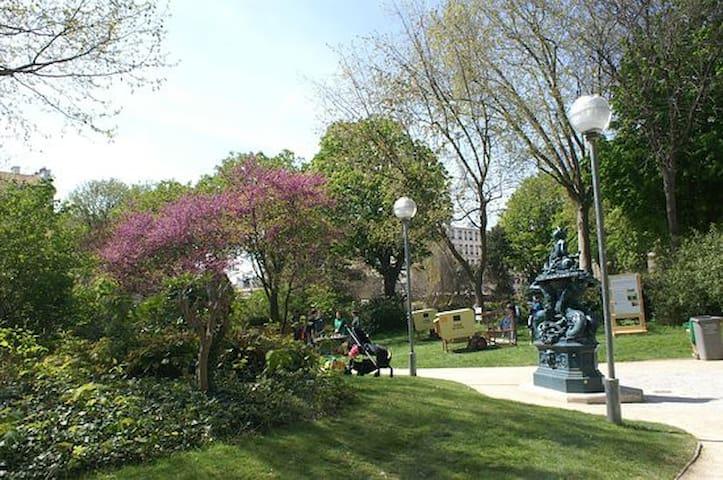 Jardin Villemin. A quelques minutes à pied de l'appartement au bord du canal St Martin.