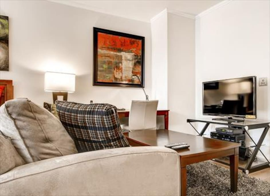 Living Room area features a work desk with chair, flat panel LCD TV with cable channels, DVD player and stereo CD system.