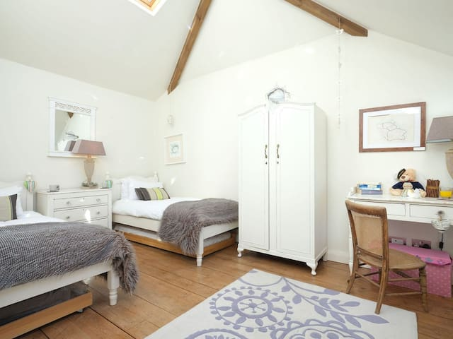 Twin room with pull out trundle bed with vaulted ceiling and skylights