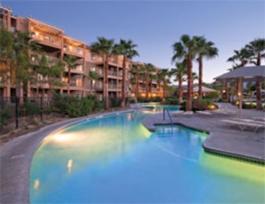 Beautiful sparkling pools, lazy river and hot tubs
