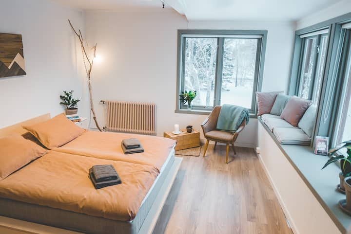 Cosy, large double room in Lofoten with lake views
