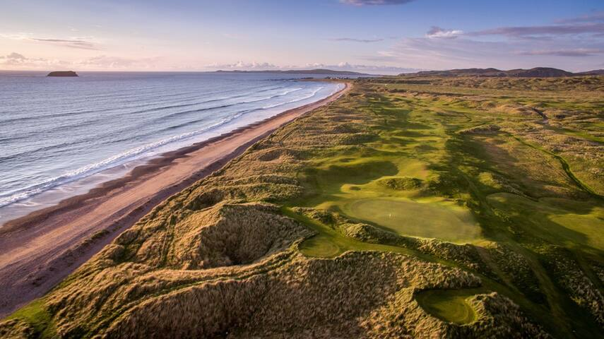 Ballyliffin's Glashedy Links Dubai Duty Free Irish Open Hosted by the Rory Foundation 5 – 8 July 2018 is less hthan 60 min drive from Monreagh  The  2018 season will visit Ballyliffin's Glashedy Links for the first time in its long history this summer and the County Donegal crowds are expected to turn out in force as Spain's Jon Rahm defends his title.