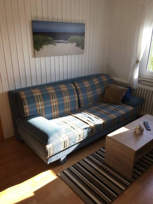 Gemütliche Couch - kann zur Schlafcouch umfunktioniert werden.