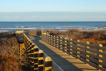 Walk or drive your golf cart over the boardwalk for easy access to the private beach.