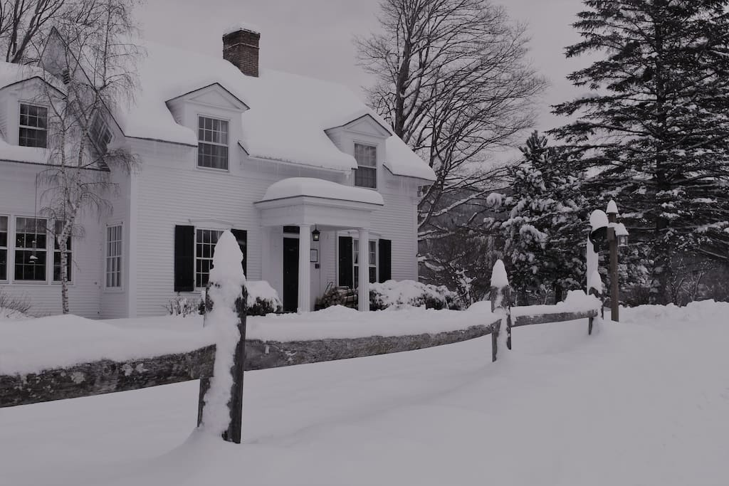 The 1824 House has two working fireplaces, walking paths for snowshoeing and a fantastic sledding hill right on the property. 15 mins to Sugarbush and Mad River Glen Ski Areas.