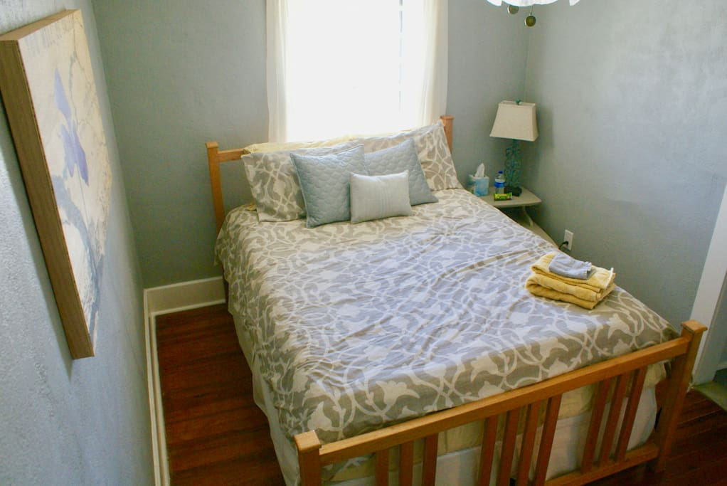 Queen-size bed, dresser, nightstand, chair and closet