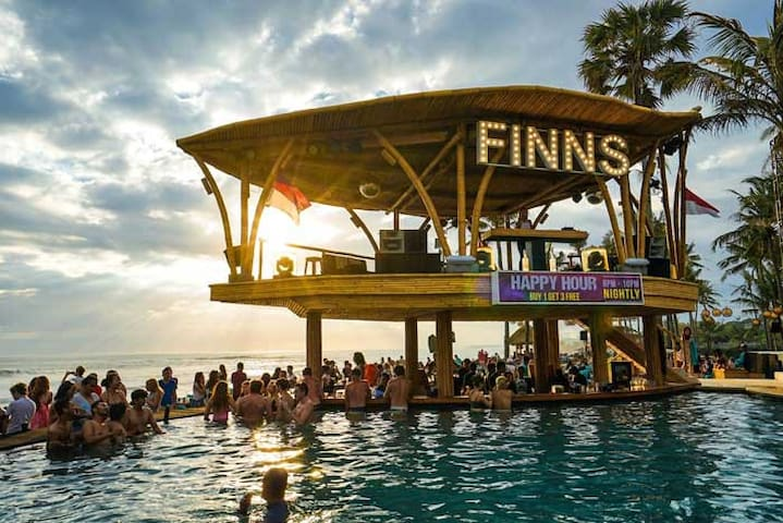Finns Beach Club - located only 15 minutes walk