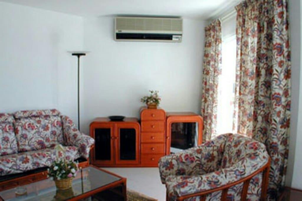 Salón a terraza con aire acondicionado