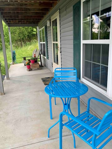 front patio, private to guests.