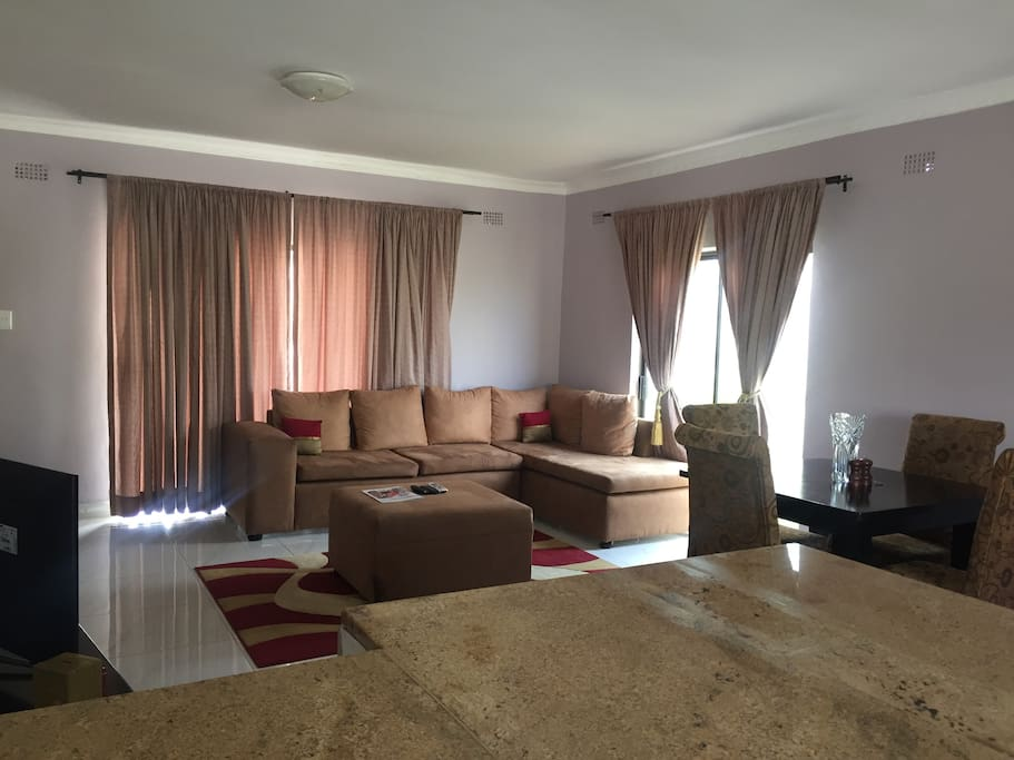 Comfortable cosy living room with DSTV Cable TV at your leisure.