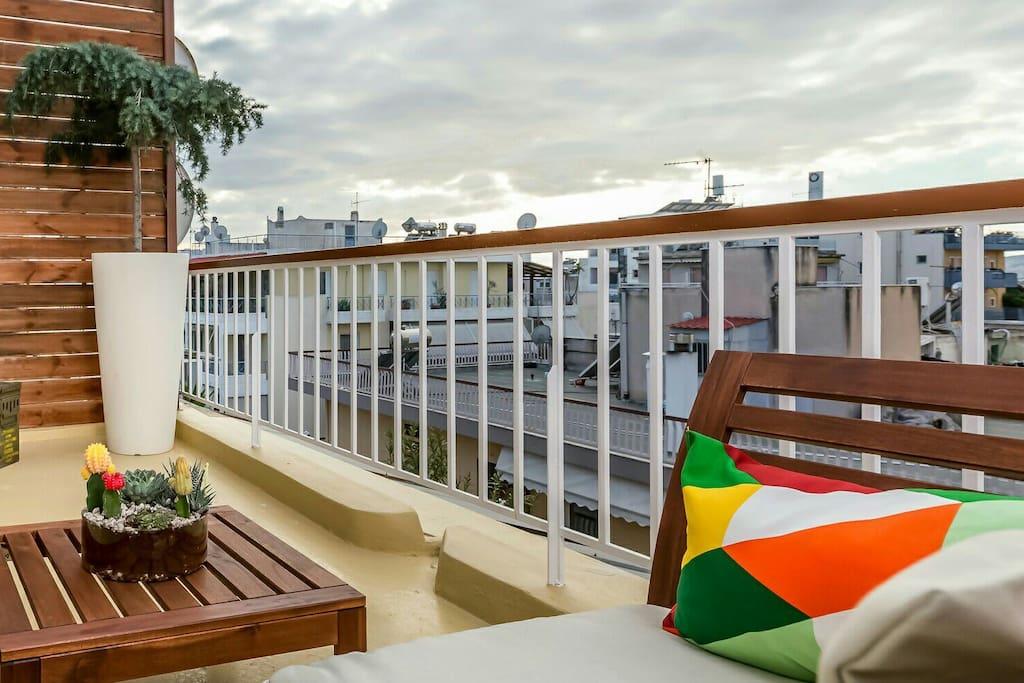 Balcony's sitting area