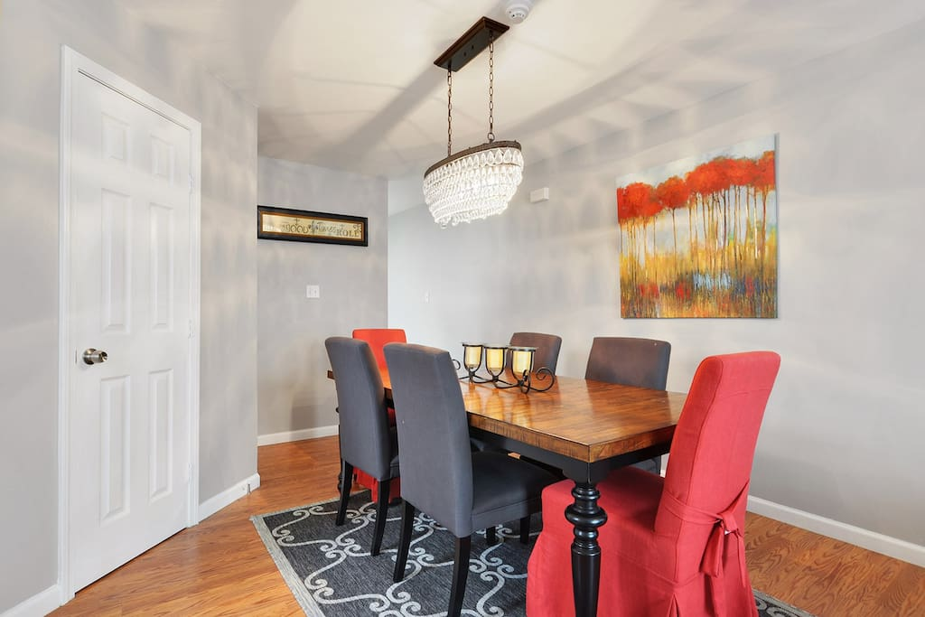 Beautiful dining area with great lighting. 1/2 bath (powder room) close by.