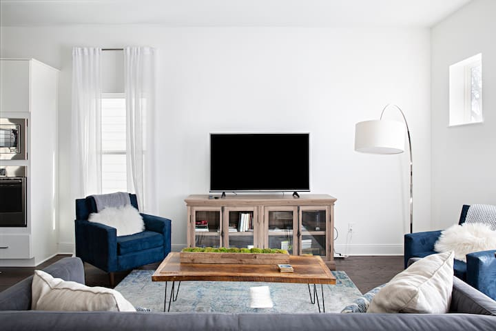 Comfortable living space with smart tv