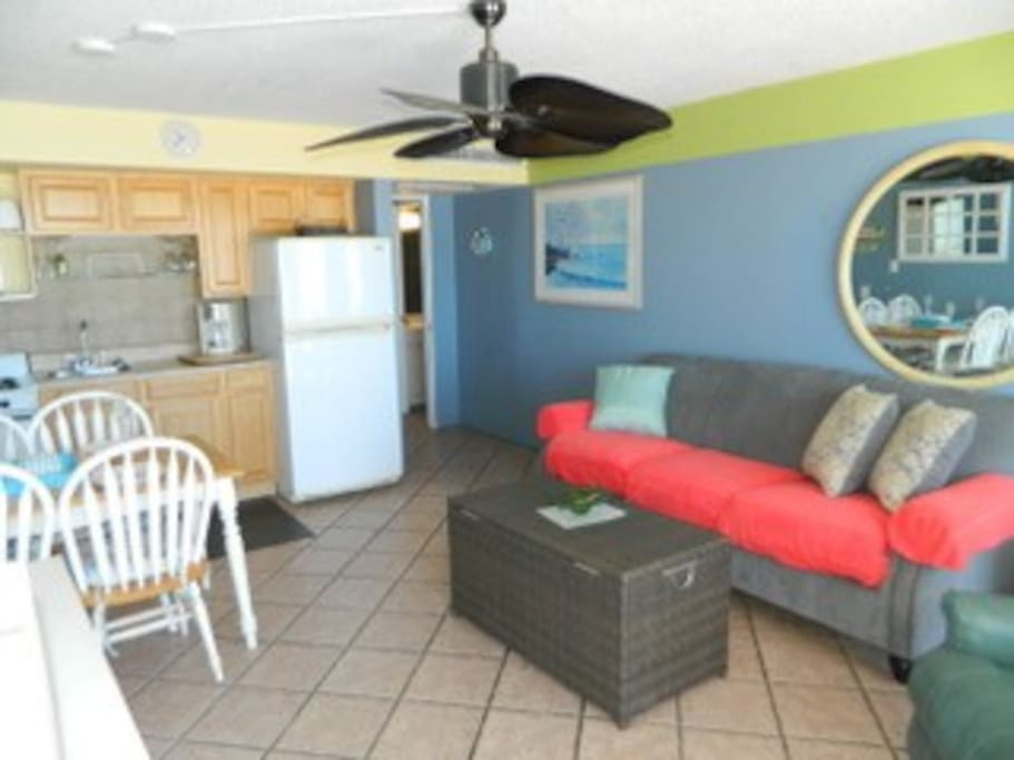 This is a great condo on the fourth floor brand new couch with the memory foam mattress patio doors looking at the ocean balcony looking right at the ocean flat screen TV very comfortable recliner