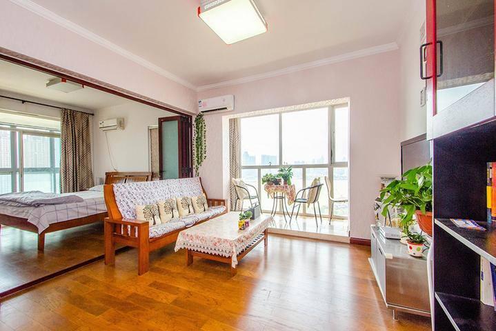 这里最赞的是窗外夜景!客厅和两个房间都有封闭式阳台,窗外就是武汉汉江长江交汇口,夜晚会亮起灯光,非常 - Wuhan - Daire