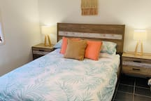 Bedroom with New queen size bed suite, new orthopaedic mattress and high thread count sheets.