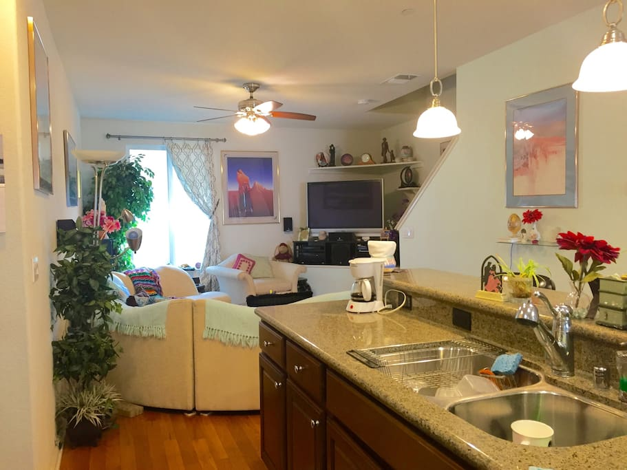 Full access to kitchen & great to hang out family room with large, flat screen TV and cable
