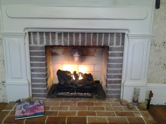 Gas fireplace for your warmth and enjoyment.