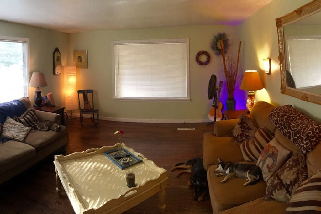 Spacious living room withy comfy couches. Dog friendly! :)