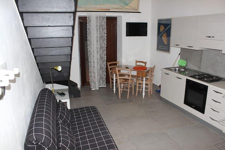 Panoramica, ingresso, soggiorno con angolo cottura.