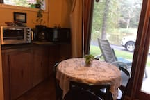 Kitchenette Area with Toaster Oven, Microwave and Electric Tea Pot and Electric Coffee Pot