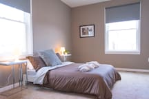 """Cozy and quiet bedroom with full/double size bed (54"""" x 75"""") and blackout blinds"""