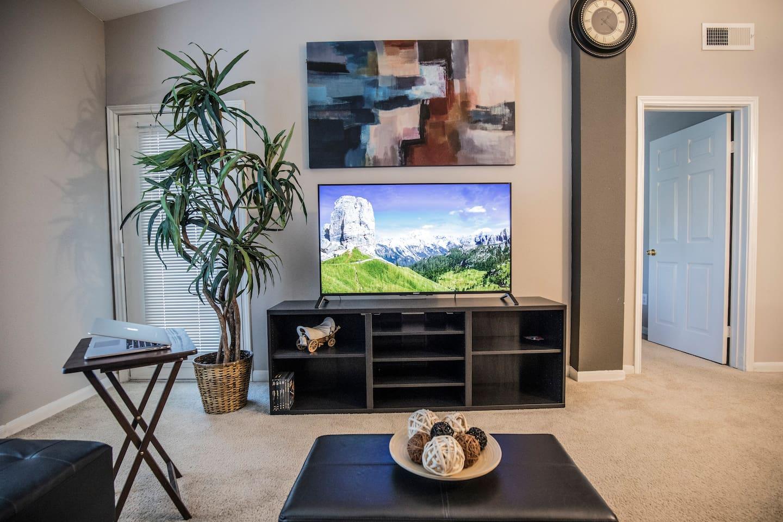 BIG FLAT SCREEN TV WITH NETFLX AMZ PRIME DIRECTV