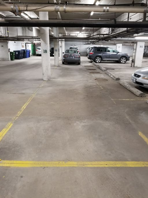 Large parking spot, underground.