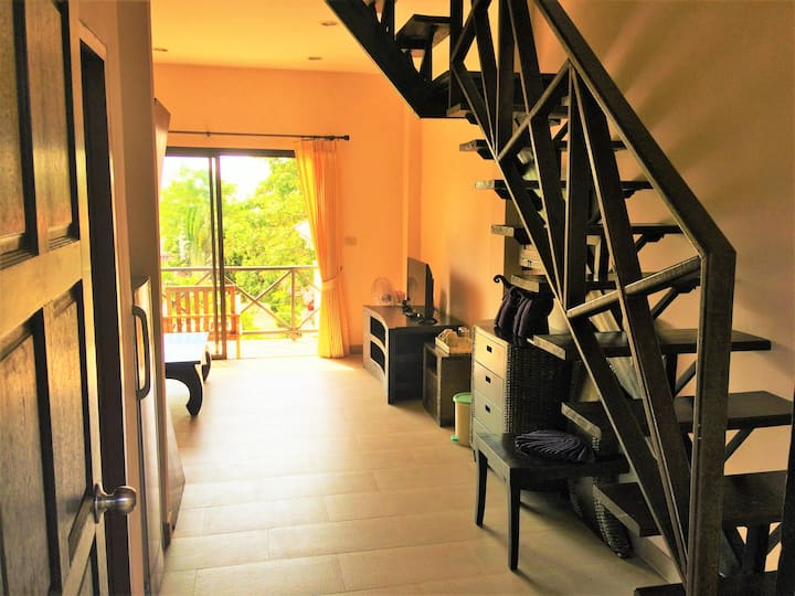 2 Floor Duplex Room with Balcony 300m from Beach